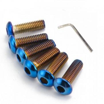Kit Com 6 Parafusos Cabeça Lentilha Titanium M5x15mm P/ Fixação de Cubo no Volante Esportivo Epman – Neo Chrome