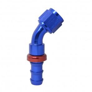 """Conexão Epman 10AN 45 Graus para 5/8"""" de Espigão (Mangueira 15mm) - Azul / Vermelho"""