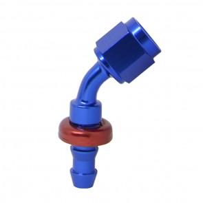 """Conexão Epman 4AN 45 Graus para 1/4"""" de Espigão (Mangueira 6mm) - Azul / Vermelha"""