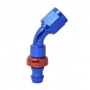 """Conexão Epman 6AN 45 Graus para 3/8"""" de Espigão (Mangueira 9mm) - Azul / Vermelho"""