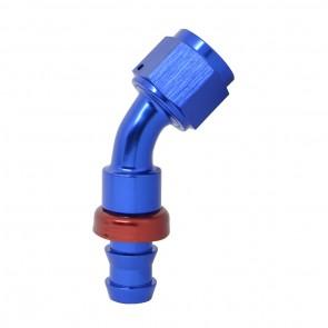 """Conexão Epman 8AN 45 Graus para 1/2"""" de Espigão (Mangueira 12mm) - Azul / Vermelho"""