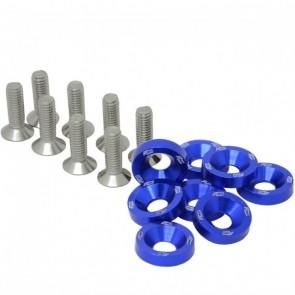 Conjunto de Arruelas em Alumínio com Parafusos M6 (8 Conjuntos) - Azul