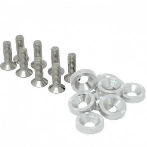 Conjunto de Arruelas em Alumínio com Parafusos M6 (8 Conjuntos) - Prata