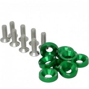 Conjunto de Arruelas em Alumínio com Parafusos M6 (8 Conjuntos) - Verde
