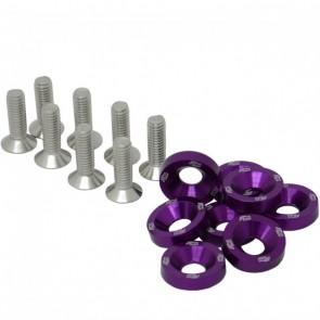 Conjunto de Arruelas em Alumínio com Parafusos M6 (8 Conjuntos) - Roxo
