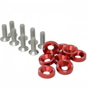 Conjunto de Arruelas em Alumínio com Parafusos M6 (8 Conjuntos) - Vermelho