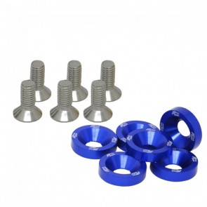 Conjunto de Arruelas em Alumínio com Parafusos M8 (6 Conjuntos) - Azul