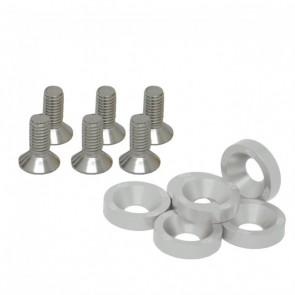 Conjunto de Arruelas em Alumínio com Parafusos M8 (6 Conjuntos) - Prata