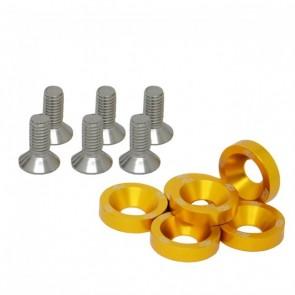 Conjunto de Arruelas em Alumínio com Parafusos M8 (6 Conjuntos) - Dourado
