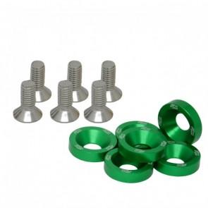 Conjunto de Arruelas em Alumínio com Parafusos M8 (6 Conjuntos) - Verde
