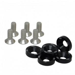 Conjunto de Arruelas em Alumínio com Parafusos M8 (6 Conjuntos) - Preto