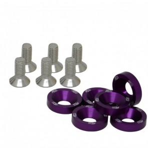 Conjunto de Arruelas em Alumínio com Parafusos M8 (6 Conjuntos) - Roxo