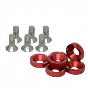 Conjunto de Arruelas em Alumínio com Parafusos M8 (6 Conjuntos) - Vermelho