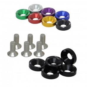 Conjunto de Arruelas em Alumínio com Parafusos M8 (6 Conjuntos) - Cores Disponíveis