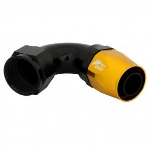 Conexão 16AN / AN16 120º para Mangueira Aeroquip - Colors (Corpo Preto - Porca Dourada)