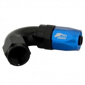 Conexão 8AN / AN8 120º para Mangueira Aeroquip - Colors (Corpo Preto - Porca Azul)