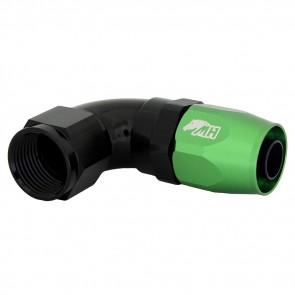 Conexão 10AN / AN10 90º para Mangueira Aeroquip - Colors (Corpo Preto - Porca Verde)