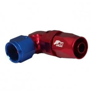 Conexão 8AN / AN8 Curva 90° graus Curta Perfil Baixo para Mangueira Aeroquip - American (Azul e Vermelho)