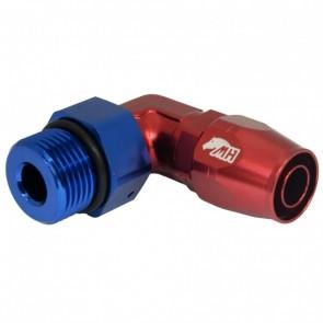 Conexão Oring 12AN / AN12 Curva 90° graus Curta Perfil Baixo para Mangueira Aeroquip 10AN / AN10 - American Edition (Azul e Vermelho)