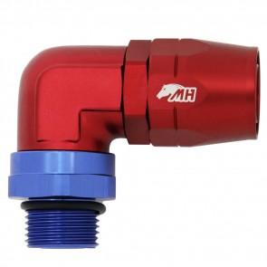 Conexão Giratória O'ring 12AN / AN12 Curva 90° graus Curta Perfil Baixo para Mangueira Aeroquip 16AN / AN16 - American Edition (Azul e Vermelha)