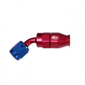Conexão 4AN / AN4 Curva 45° graus para Mangueira PTFE - American (Azul e Vermelha)