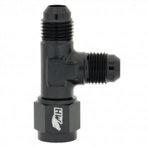 Divisor em T 6AN / AN6 com uma saída fêmea - Preto (Ideal p/ dividir ar, água e óleo)