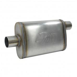 """Silencioso Absorsivo 4"""" x 9"""" com entrada e saída de 2-1/2"""" (Comprimento 350mm) - Inox"""
