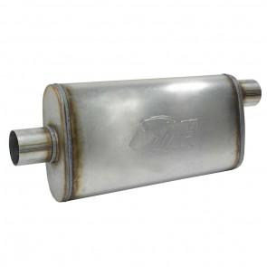 """Silencioso Absorsivo 4"""" x 9"""" com entrada e saída de 2-1/2"""" (Comprimento 450mm) - Inox"""