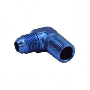 """Adaptador Macho NPT 1/2"""" para Macho Cônico 12AN / AN12 em Curva 90° Graus - Azul"""