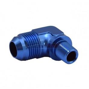 """Adaptador Macho NPT 3/8"""" para Macho Cônico 12AN / AN12 em Curva 90º graus - Azul"""