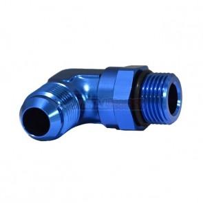 Adaptador Giratório Oring 10AN / AN10 para Macho Cônico 10AN / AN10 em Curva 90º graus - Azul