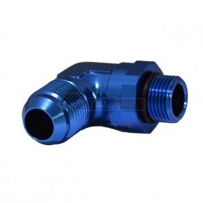 Adaptador Giratório Oring 10AN / AN10 para Macho Cônico 12AN / AN12 em Curva 90º graus - Azul