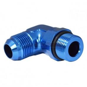 Adaptador Giratório Oring 12AN / AN12 para Macho Cônico 12AN / AN12 em Curva 90º graus - Azul