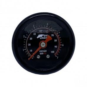 Manômetro de Pressão 0-7 BAR 0-100 PSI - Preto