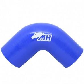 """Mangote em Silicone Redutor Curva 90° graus 2-3/4"""" para 2-1/2"""" polegadas (70mm para 63mm) x 125mm - Azul"""