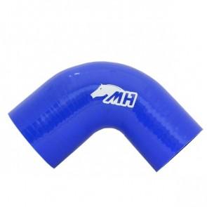 """Mangote em Silicone Redutor Curva 90° graus 3"""" para 2-1/2"""" polegadas (76mm para 63mm) x 125mm - Azul"""