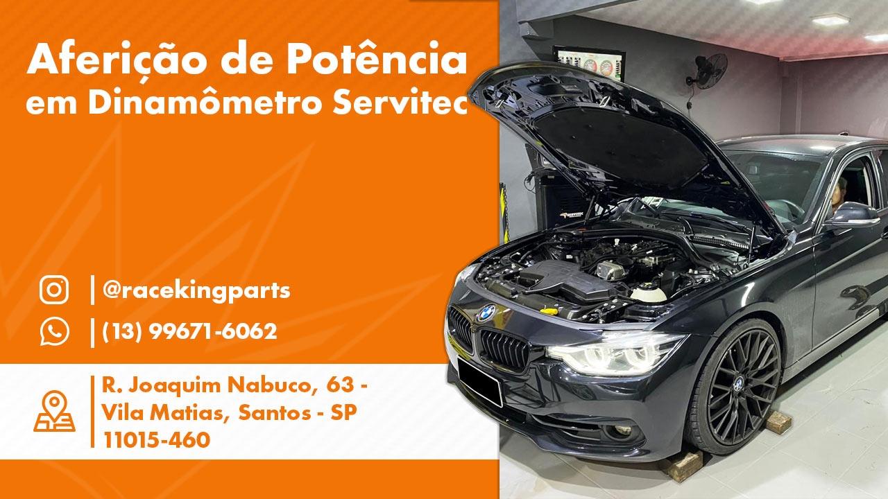 Carro BMW passando pelo dinamometro da Race King Santos